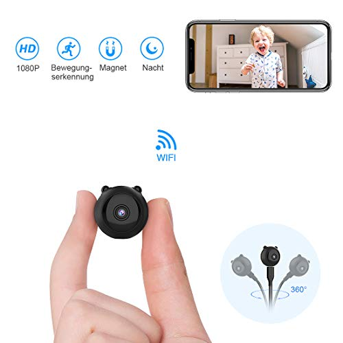 TODAYI Mini-Kamera Mini Wireless WiFi-Kamera HD 1080P Indoor Home Kleinste Mini-Nanny Cam-Überwachungskameras batteriebetrieben mit Bewegungserkennung/Nachtsicht für iPhone/Android-Telefon/iPad/PC