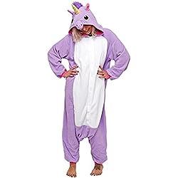Chicone Unicorn Kigurumi Pijamas Unisexo Adulto Traje Disfraz Animal Adulto Animal Pyjamas Traje Disfraz de Halloween, Purple, M (Height 160-169cm)