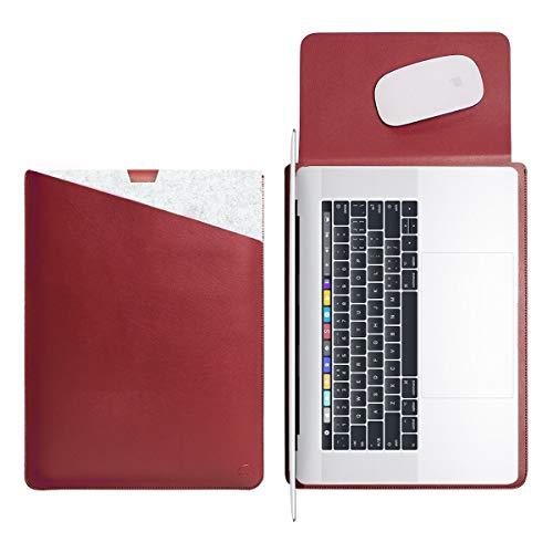 WALNEW 38,1 cm (15 Zoll) MacBook Pro mit Touch-Bar, weiche Hülle mit Zwei Fächern und sicherem Mauspad innen und außen