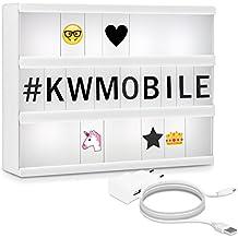 kwmobile caja de luz cinematográfica A4 LED - lightbox con 378 letras negras números + emoticones - fuente de alimentación - caja de iluminación
