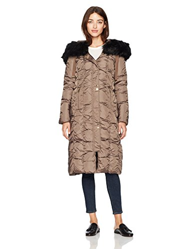 Via Spiga Damen Maxi Down Coat with Removable Faux Fur Trim Hood Daunenmantel, Skim Latte, X-Groß Trim Down Jacke