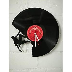 Wanduhr aus Vinyl Schallplattenuhr mit Kletterer/Climber Motiv upcycling design Uhr Wand-deko vintage-Uhr Wand-Dekoration retro-Uhr
