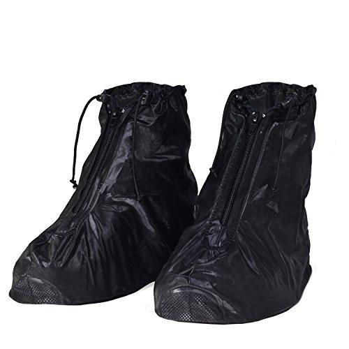 HSEAMALL Copriscarpe Pioggia Moto, Scarpe Pioggia Impermeabile Copriscarpe Riutilizzabile Stivali di Copriscarpe Antiscivolo con Zip (39/40 EU)