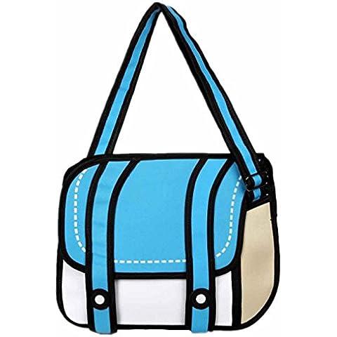 DEWANG 3d salto estilo 2d dibujo de dibujos animados bolsa de papel cómic Messenger Bag