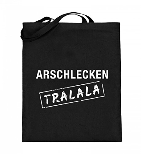 Hochwertiger Jutebeutel (mit langen Henkeln) - Arschlecken Tralala Schwarz