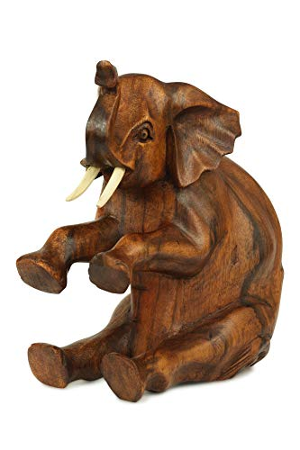G6 Collection Elefantenfigur aus Holz, handgeschnitzt, groß, sitzend, dekorativ, rustikal, Dekoration, handgefertigt, groß, Elefant (Ideen Tag Mutter Handwerk Der Der)