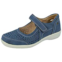 Yinka Shoes Ladies Faux Leather Laser Cut Touch Close Foot Strap Mary Jane Ultra Lightweight Comfort Loafers Size 3-8 (7 UK, Navy)