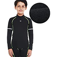 Bwiv Térmica Interior Niño Camiseta Deporte Manga Larga de Compresión para Esquí Caliente Ropa Interior Polar Niño Cuello Alto Secado Rápido Transpirable Invierno 3 Color S hasta 3XL