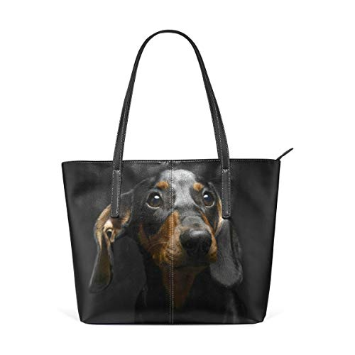 XGBags Custom Frauen Umhängetaschen Sad Puppy Dog Dachshund Black PU Leather Shoulder Tote Bag Purse for Women Girls -