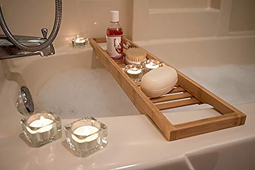 Chshy vassoio caddy per vasca da bagno di lusso, vasca da bagno in bambù, portabottiglie porta bicchiere per shampoo, sapone, rasoi e molto altro vassoio da bagno in bambù