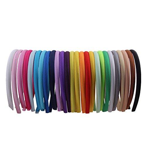 Candygirl 26 Piezas Diademas de Satén de Niñas Cinta Cubierta de 36 cm de Perímetro Accesorios de Peinado, Multicolor