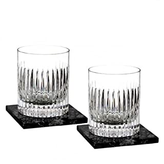 Aras Double Old Fashioned Pair, w/Marble Coasters Set/2