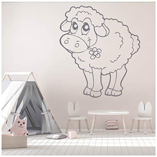 azutura Niedliches Lamm-Schaf Wandtattoo Nutztiere Wand Sticker Mädchen Schlafzimmer Wohnkultur verfügbar in 5 Größen und 25 Farben X-Groß Blatt Grün (Blatt Lamm)