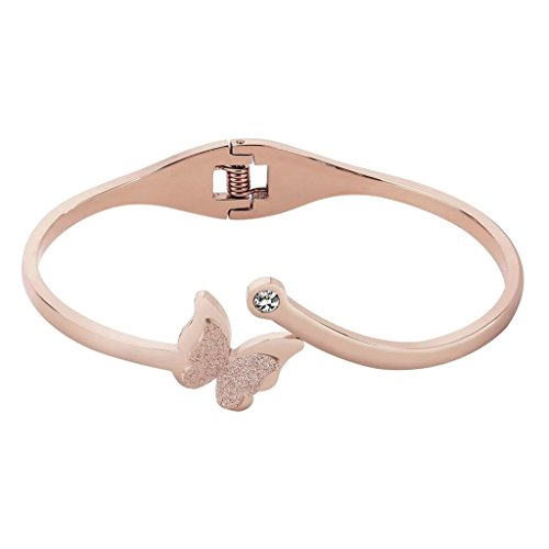 Gnzoe Schmuck Edelsthal Damen Armband Schmetterling Form Damenarmband Elegant Freundschafts Armreif Poliert Armschmuck Rose Gold 16 CM