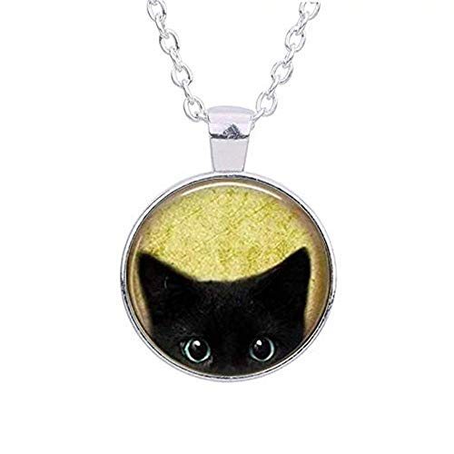 Mypace Anhänger Gold Silber 925 Für Damen Black Cat Halskette-Peeking Black Cat Pendant-Cute Black Cat Schmuck