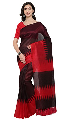 Rajnandini Wine And Red Tussar Silk Printed Party Wear Saree