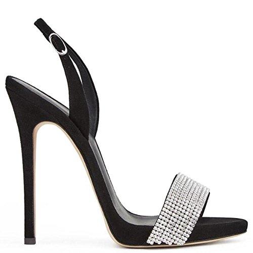 L@YC Frauen mit High Heels High Heels Sandalen Knöchel mit Manschetten peeping Zeh Schuhe Black