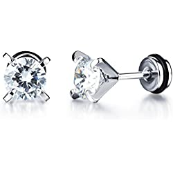 Yellow Chimes Glittering White Crystal Studs for Boys and Men