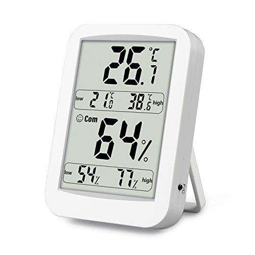 Digitales Thermo-Hygrometer Temperatur und Luftfeuchtigkeitmessgerät LCD Display mit Min/Max Records, C/F-Schalter, Komfort Indikation