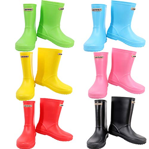 Leopard Boys Girls Non-Slip Waterproof Kids Wellies Wellington Boots Unisex Children Motorbike Rain Boots Shoes
