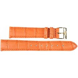 18 mm Imperial Watch Leather Band Wrist Watch Orange Leather Watch Strap 18 mm Buckle: White