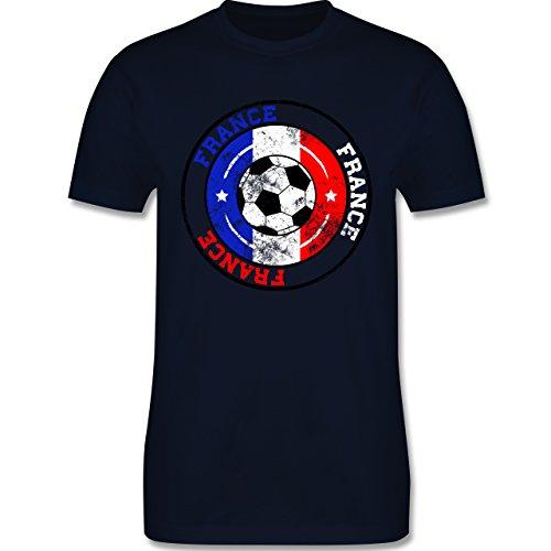 EM 2016 - Frankreich - France Kreis & Fußball Vintage - Herren Premium T-Shirt Navy Blau