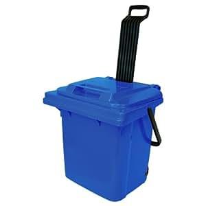 Récipient en plastique avec couvercle et roues, poignée pliable, multifonctions Container SULO Rollbox 45L, bleu (22111)