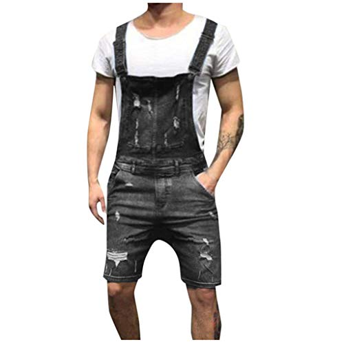 Männer Overall Lässige Jumpsuit Jeans Wash Broken Pocket Hosen Hosenträgerhose Fashion Pocket Button Washed Denim suspens Schwarz Blau S/M/L/XL/XXL/3xL -