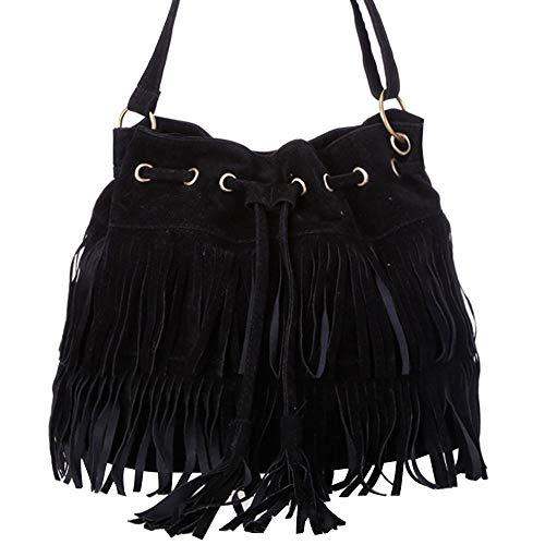Haiyemao Kleine Tasche Frauen Fransen Quaste Umhängetasche Faux Wildleder Messenger Cross Body Bag Handtasche Mode Hohe Qualität wasserdichte Taschen für Damen (Color : Schwarz, Size : M) -
