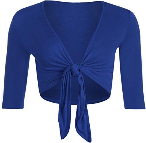 WearAll - Damen Binden Jäckchen Cardigan Top Übergröße - 4 Farben - Größe 40-54 Königsblau
