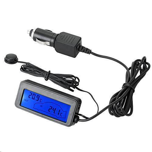 YouFia Auto LCD Digital Thermometer 12V Blau Mini Auto Innen/Außen Thermometer mit Sonde