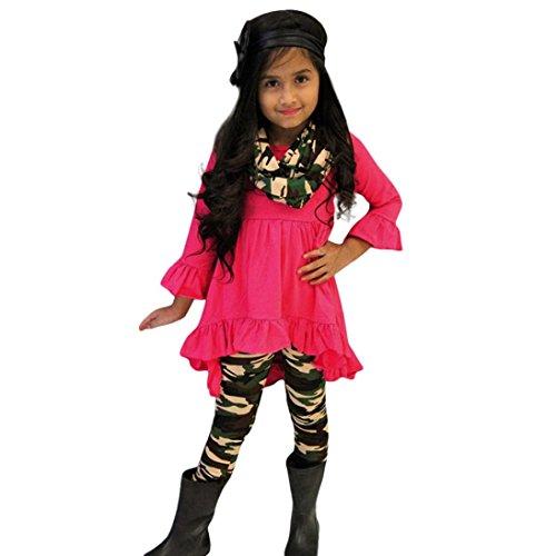 OverDose Kleinkind Baby Mädchen Schmetterlings Hülsen Blusen Oberteil Tops Kleid + Camouflage Hosen 3PCS Outfits(1T,Hot pink)