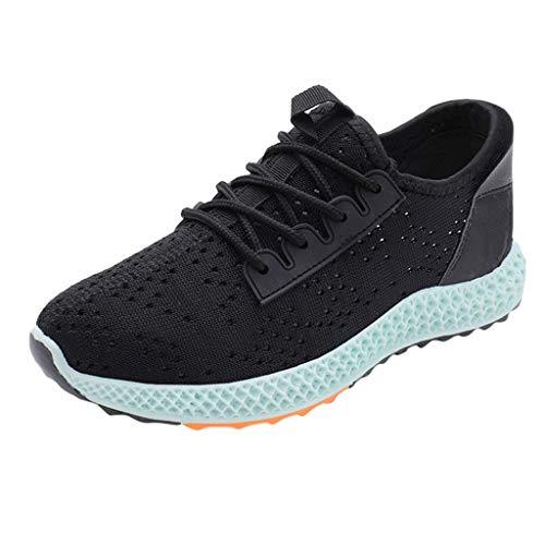 Floweworld Damen-Mischfarben-leichte Laufschuhe mit runder Spitze schnüren Sich Oben beiläufige Sportschuh-Turnschuhe -