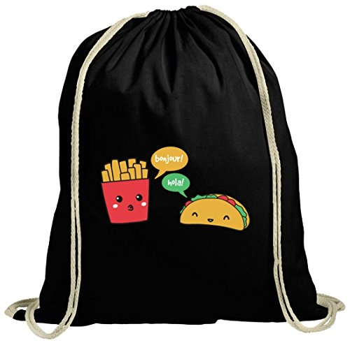 Lustiger natur Turnbeutel mit Taco Pommes Motiv von ShirtStreet schwarz natur