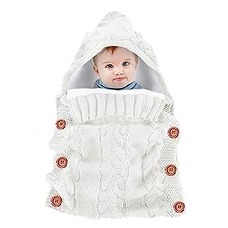 Baby Hoodied Swaddle Blanket Wrap Bolsas de dormir de invierno Nap Blanket Cochecito Wrap Por 0-18 meses Recién nacido Grueso Fleece cálido Saco de dormir de ganchillo de punto (Color : White)
