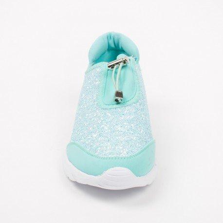 Ideal Shoes - Baskets bi-matière avec partie effet pailletée Salia Turquoise