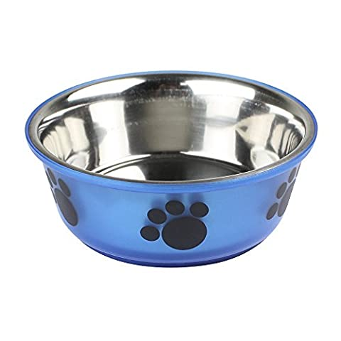 Non Slip Stainless Steel Pet Dog Cat Food Water Feeding Bowl - Paw Design (Blue Medium)