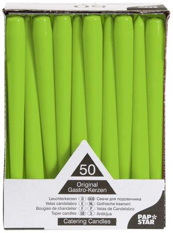 PAPSTAR 81113 50 - Velas de candelabro (diámetro de 2,2cm y Largo de 25 cm), Color Verde