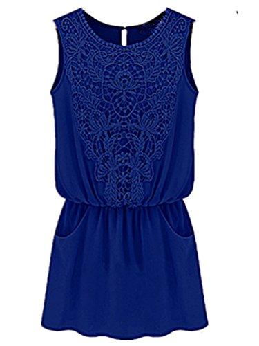 Blansdi Damen Sommer Elegant Beiläufige Partykleid Rundhals Ärmellos Einfarbig Lace Bestickt Knielang T-shirt-Kleid Mini Cocktailkleid Festlich Strand Abend Bluse Kleid Blau