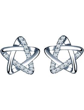 Yumilok 925 Sterling Silber Zirkonia Stern Pentagramm Ohrstecker Ohrringe Hypoallergen Ohrschmuck für Damen Frauen...