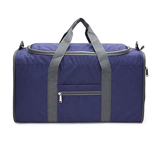 Nosterappou Männer und Frauen Falten Mode Freizeit Reisetasche Schultertasche große Kapazität Gepäcktasche Rucksack kann mit der Stange verbunden (Farbe : Dunkelblau)