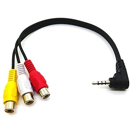 Maxhood Right angle 3.5mm male Plug to 3RCA Female adapter