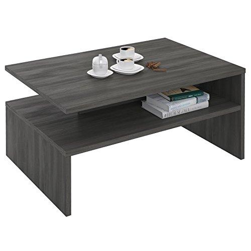 Esche Wohnzimmer Tisch (Couchtisch PAULINA Beistelltisch Wohnzimmer mit Ablagefach in Esche grau)