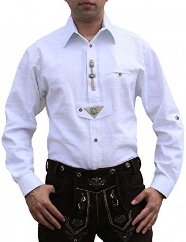 Trachtenhemd für Trachten Lederhosen Oktoberfest Trachtenmode wiesn weiß, Hemdgröße:S