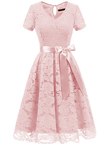 Dresstells Damen Spitzenkleid Herzform Elegant Cocktail Abendkleid Blush - Bridal Sleeves Cap