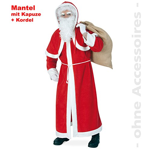 Väterchen Frost Kostüm - KarnevalsTeufel 2. Wahl - Nikolausmantel mit Kapuze und Kordel, Weihnachtsmann, Väterchen Frost, Plüsch, rot-weiß, Nikolaus-Kostüm
