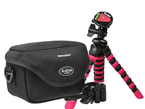 Progallio Kameratasche ACTION BLACK QUER mit Reise-Stativ Typ Rollei 300