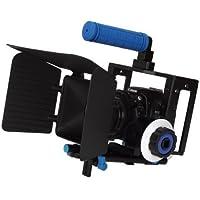 eimo Pro Rig Cage 5D Mark II + Haut + 15mm Poignée aluminium Rod Bloquer Plate + Follow Focus + Matte Box Pour appareil photo reflex numérique / vidéo et caméscopes comme Canon 550D 500D 60D 50D 40D 5D, 5D2 5D3 1Ds, Nikon D700 D300 D90 D7000 D5000 D3100 D3000 , Fuji, Olympus, Pentax reflex DSLR