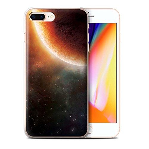 Stuff4 Hülle / Case für Apple iPhone 8 / Blaue Planet Muster / Weltraum Kollektion Orange Finsternis
