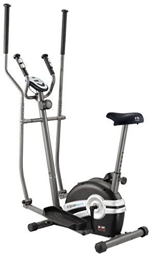Body Sculpture Unisex 2-in-1 Magnetic Elliptical and Bike with Hand Pulse Sensor, Black/Grey, Unisize